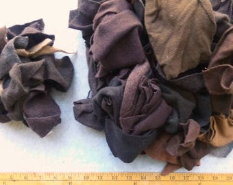 Cashmere Recycled Remnants - Mixed Browns for DIY Crafts and Projects - Choose Bundle Size