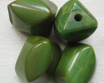 CLEARANCE Vintage Bakelite Carved Beads Creamed Spinach 22x16mm QTY - 4