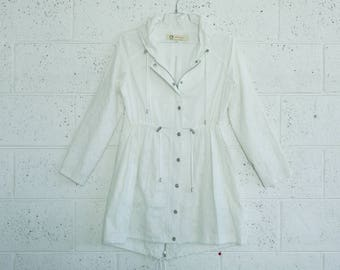 Summer Sale Embroidered winter coat ,white.