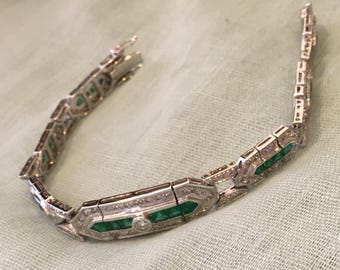 Emeralds and Diamonds Bracelet