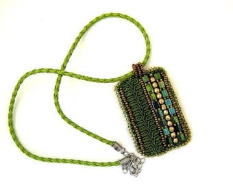 SALE Olive green necklace, Bead embroidered necklace, Green pendant, Beaded necklace,  Green necklace, Gift for women