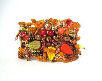 Gift for women, Beaded Bracelet, Bead cuff, Beaded jewelry, Colorful bracelet, Boho bracelet cuff, Autumn colors inspired