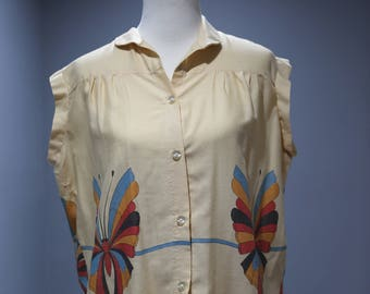 Vintage Womens L XL 1970s Butterfly Sleeveless Blouse Top