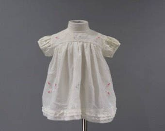 Vintage Baby Girls Dress 6 12 Months Sheer Layered Floral Embroidery
