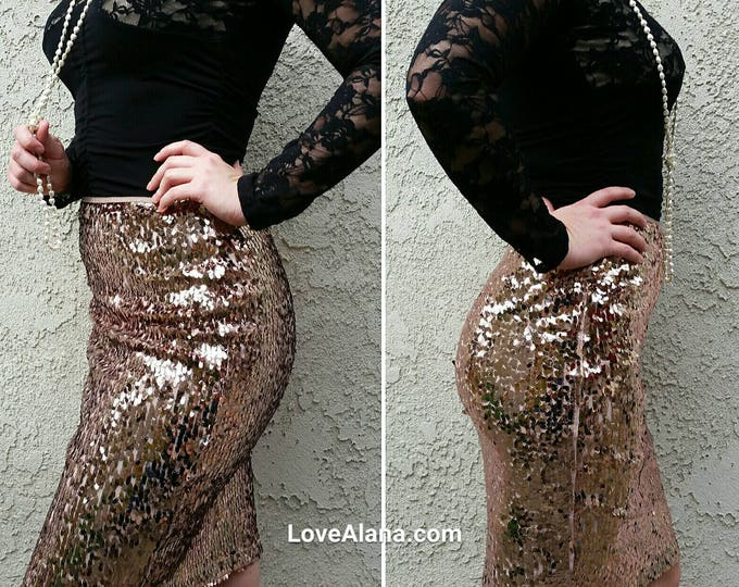 SALE til 11/23 Large only - Rose Gold Oval Sequins Skirt - beautiful, fun and classy skirt. 21 inches. Ship asap!