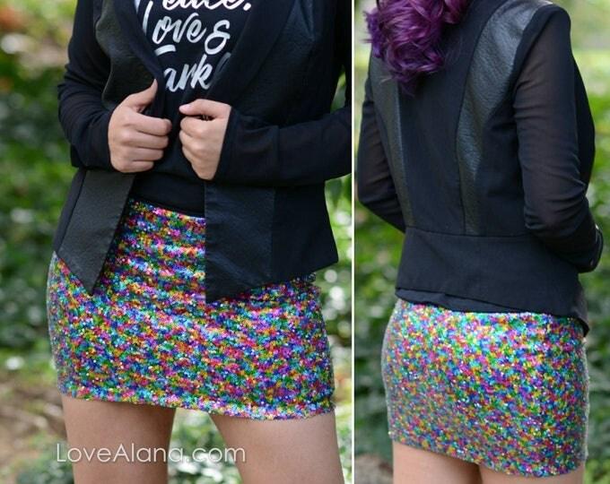 Rainbow Sequin Skirt - Mini skirt, full sequins (Small Only) Super beautiful.