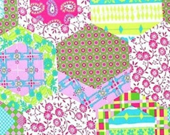 1 Yard Dance With Me KIMBERLY Cheater Cloth Faux Quilt Block Paganelli JP28 Lime Flowers Free Spirit Hexagon Floral Feminine Fabric