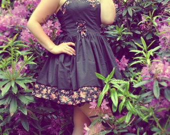 NEW - Black Flower Dress - all sizes to order