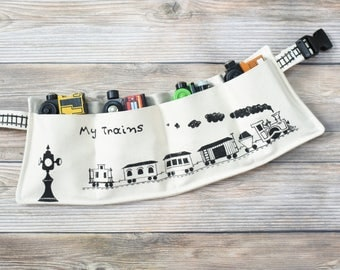 Wooden Train belt, Train Travel Pouch, Train Gift, Personalized Train, Custom Toy Storage, Train Birthday, Train Organizer Custom Train Belt