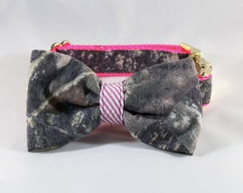 The Sporting Pup Camo and Pink Seersucker Bow Tie Dog Collar