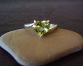 RESERVED CREATION - Genuine Heliodor Golden Beryl Faceted Heart Cut Solitaire Engagement Ring Solid 10k Yellow Gold Ring