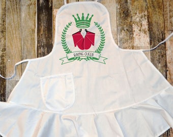 """Childs Arpon, Adults Apron, """"Baking Queen"""" great for gifts, mommy and me apron set, Christmas present, personalized childs apron"""
