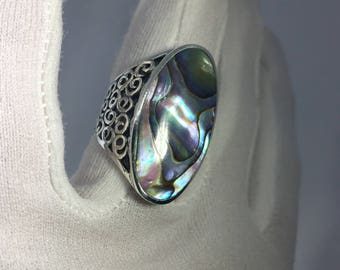 Antique White Abalone  filigree sterling silver ring