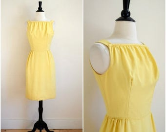 Moving Sale Vintage 60's sunshine yellow dress with skinny bow back
