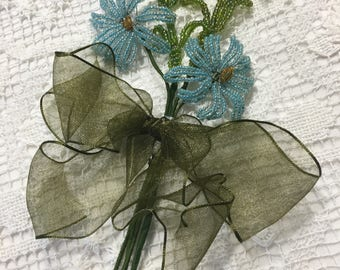 VINTAGE BEADED Flowers and Leaves from PARIS in Blue with Geen Ribbon