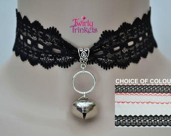 BLACK LACE Jingle Bell O Ring Charms, 35mm Holey Lace Cat Collar Choker - bq... 4 Colours, Handmade To Size :)