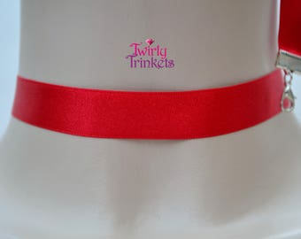 RED 16mm SATIN Ribbon Choker Classic Plain Necklace - fg... or choose another colour, custom made :)