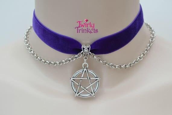 """PURPLE Velvet Ribbon Choker 16mm 5/8"""" With Pentagram Chain Necklace -sf... or choose another colour velvet :)"""