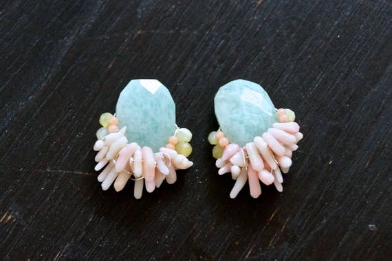 Coral & amazonite stud earrings - pastel colored