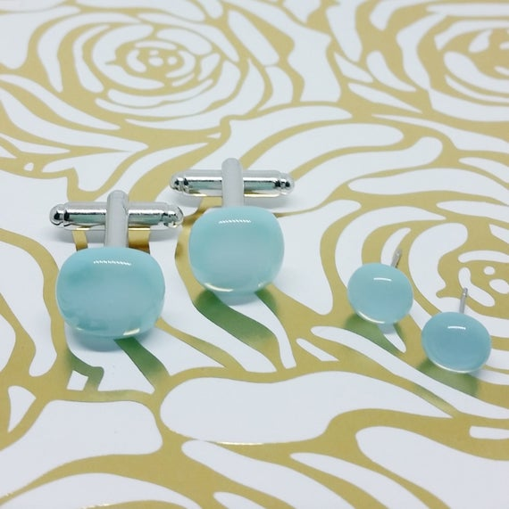 Turquoise Blue Matching Glass Cuff Links and Earrings, Wedding, Prom or Formal Attire