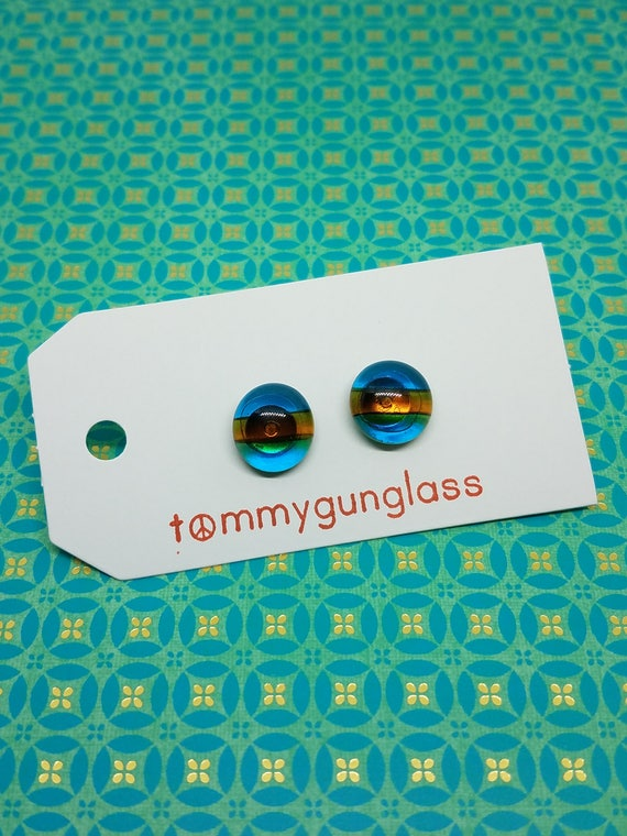 Glass Stud Earrings, Turquoise and Amber