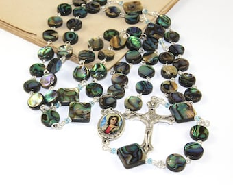Paua Shell Rosary - New Zealand Abalone Rosary, Handmade in NZ with Natural Shell Beads