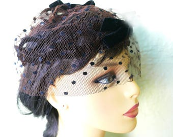 Birdcage Veil, Black Velvet 50s Net Cocktail Hat