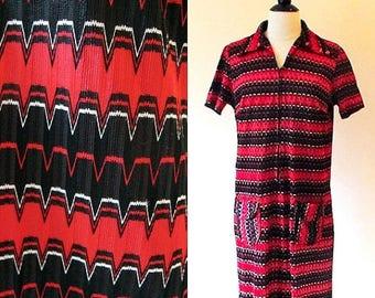 1/2 Off SALE Vintage Striped 70s Dress, Polyester Shift Dress, Red and Black Stripey Zip Front Dress
