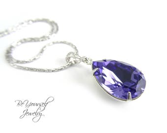 Tanzanite Teardrop Bridal Necklace Purple Blue Bride Necklace Swarovski Crystal Tanzanite Wedding Jewelry Lilac Violet Bridesmaid Gift CZ