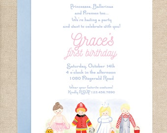 Watercolor Costume Party Invitations