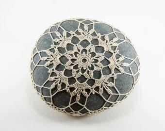 Crochet covered rock, natural beige thread, crochet lace stone, beach wedding, ring pillow, bowl element, paperweight, fiber art object