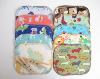 Reusable Cloth Wipes--Mini Size--Makeup Removal--Set of 10--Fun Kids Animal Mix--Ready to Ship