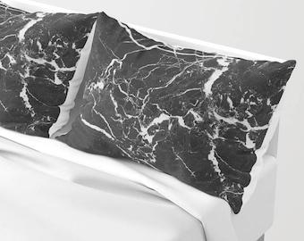 Black Marble Pillow Sham standard or king SET OF 2, Grey White Neutral Stone Texture Girls Dorm Bedding Teen Room Decor Dark colors