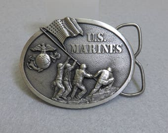 1982 US Marines Pewter Belt Buckle, Bergamot Brassworks, Signed and Numbered
