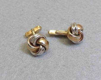 Silver and Gold Turkish Knot Cufflinks, Vintage Swank Cufflinks