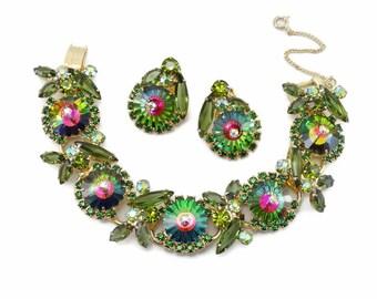 Vintage D&E Juliana Green Watermelon Rivoli Rhinestone Bracelet Earrings Confirmed Book Piece!