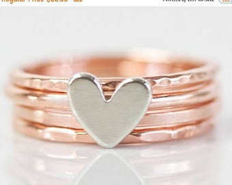 SUMMER SALE Stacking Rings / Heart / Stack Rings / Love Gift / Gift for Her / Wife Gift / Anniversary Gift / Stacking Ring Set / Silver Rose