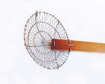 Vintage Food Strainer with Wooden Handle, Helen Chen Spider Strainer, Cooking Utensils, Kitchen Utensils and Accessories, Serving Utensils