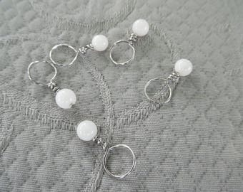 "Stitchmarkers for knitting, set of 5 ""snow"", up to 6.5 mm needles"