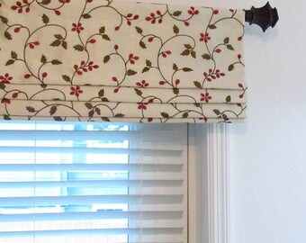 Faux Roman Shade Lined Mock Valance Embroidered Faux Silk Ivory Red Green Custom Sizing Available!