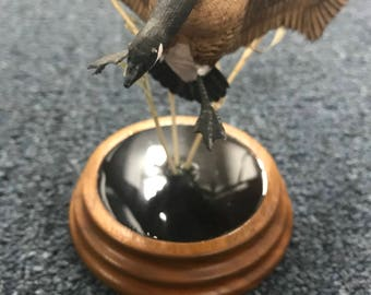 Hand Carved Wood Canadian Goose Bird by Bonnie Allen