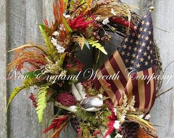 ON SALE Patriotic Wreath, Americana Wreath, 4th of July Wreath, Woodland Patriotic Wreath, Fall Flag Wreath, Designer Flag Wreath, Tea Stain
