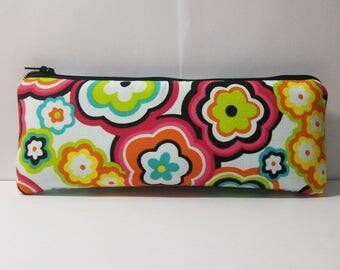 "Pipe Pouch, Hippie Flower Bag, Cute Purse, Padded Zipper Bag, 420, Stoner Gift, Hippy, Smoke Bag, Padded Pipe Pouch, Weed Pouch - 7.5"" LARGE"