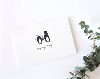 Cute Wedding Card - Simple Penguin Bride and Groom Drawing - Happy Day Penguins