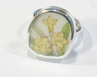Broken China Ring Sterling Silver Hand Made Three Yellow Daffodil's  size 5 to 8