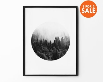 Forest Print, Foggy Mountain, Nature Wall Art, Tree Decor, Winter Art, Black and White, Photography Print, Natural Decor,