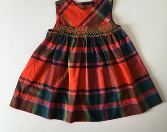 1960's Plaid Smocked Dress (5t)