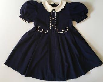 1950's Navy & Ric Rac Dress (4t)