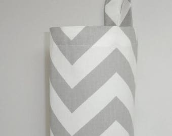 SPRING FORWARD SALE Plastic Bag Holder Grocery Bag Holder Storage Kitchen Bag Storage Grey Chevron Zig Zag