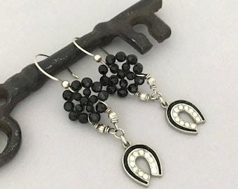 Unique Rhinestone Dangle Earrings Gift for Girlfriend - Black Womens Earrings - Vintage Repurposed Button Earrings Silver Cowgirl Horseshoe